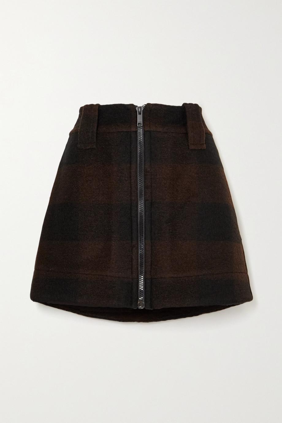 GANNI Karierter Minirock aus einer Wollmischung
