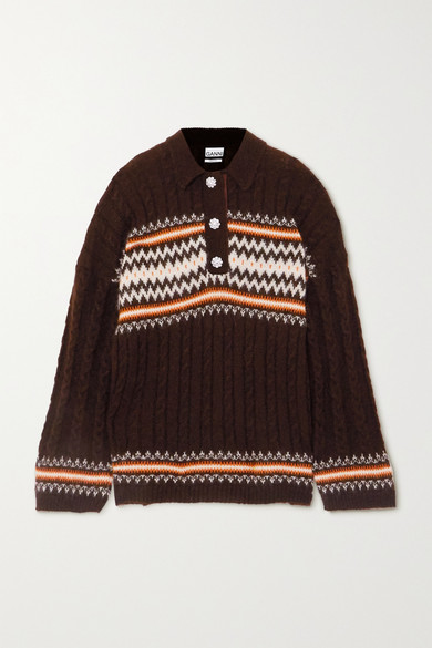 Ganni Knits CRYSTAL-EMBELLISHED FAIR ISLE CABLE-KNIT ALPACA-BLEND SWEATER