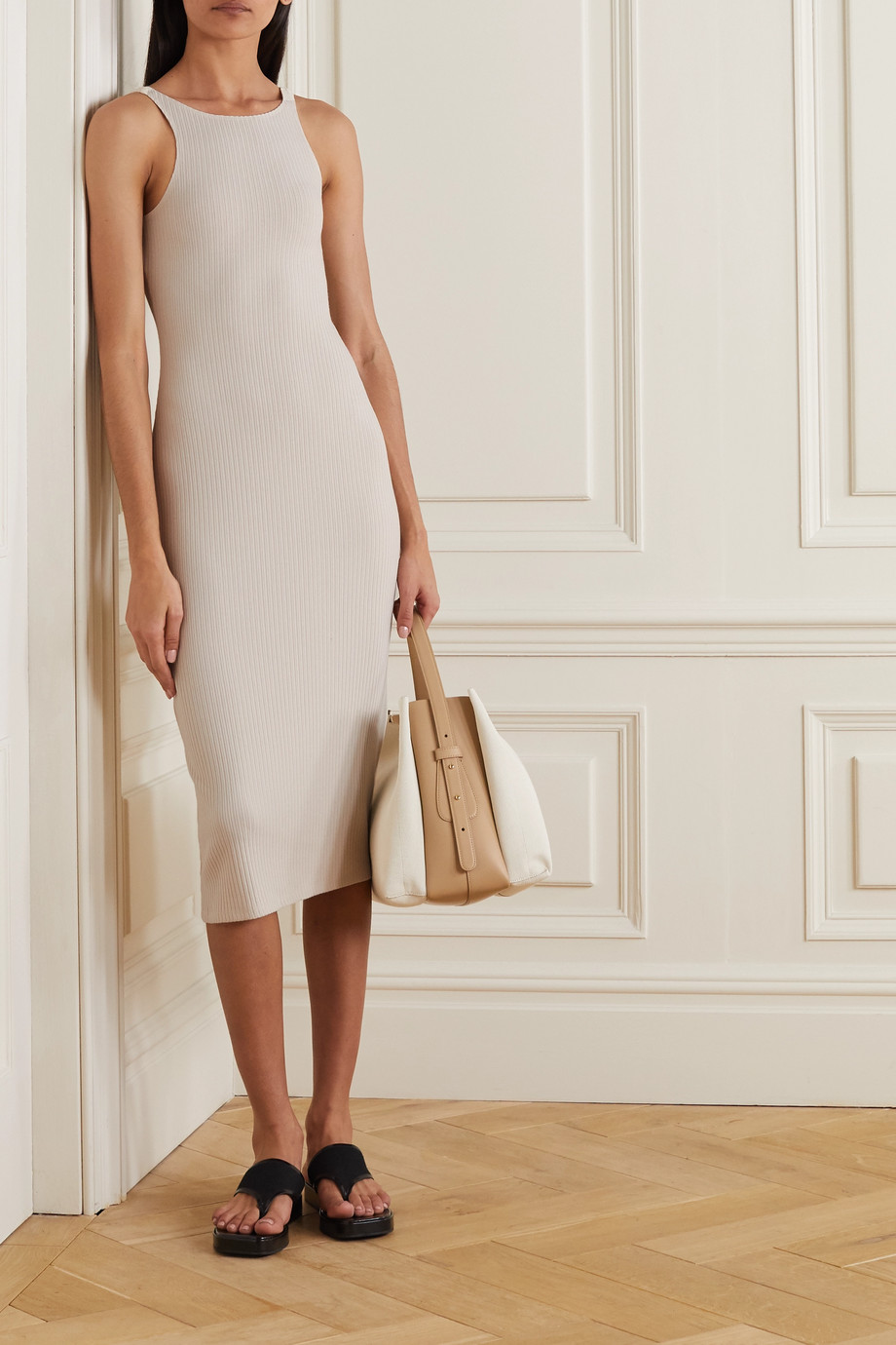 Reformation Bel ribbed stretch organic cotton and Tencel-blend midi dress