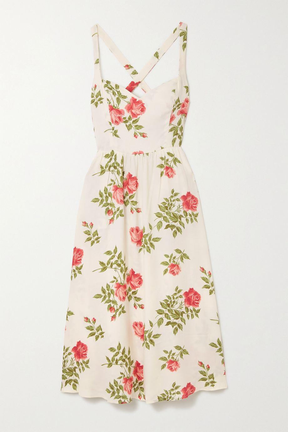 Reformation Brixton 花卉印花绉纱中长连衣裙