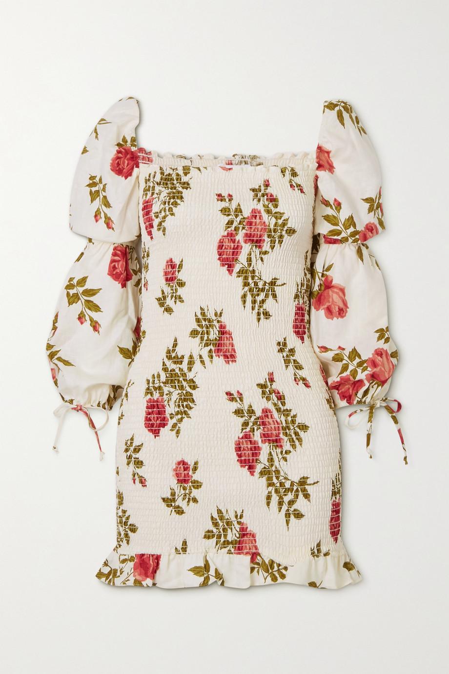 Reformation Hilary Minikleid aus Leinen mit Blumenprint und Raffungen