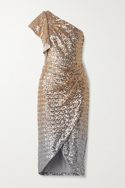 Marchesa Notte One-shoulder ombré sequined tulle midi dress