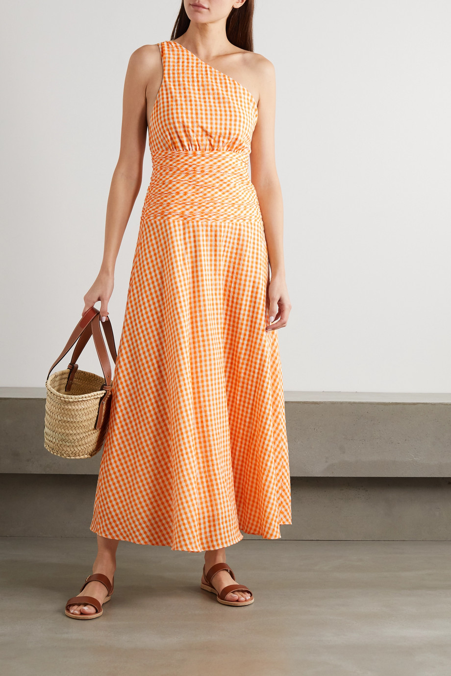Peony + NET SUSTAIN one-shoulder gingham organic cotton and ECOVERO-blend dress