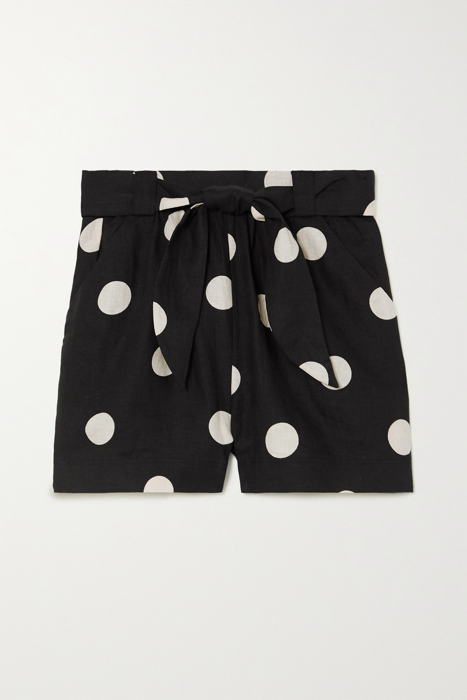 Peony + NET SUSTAIN Macaroon belted polka-dot linen shorts