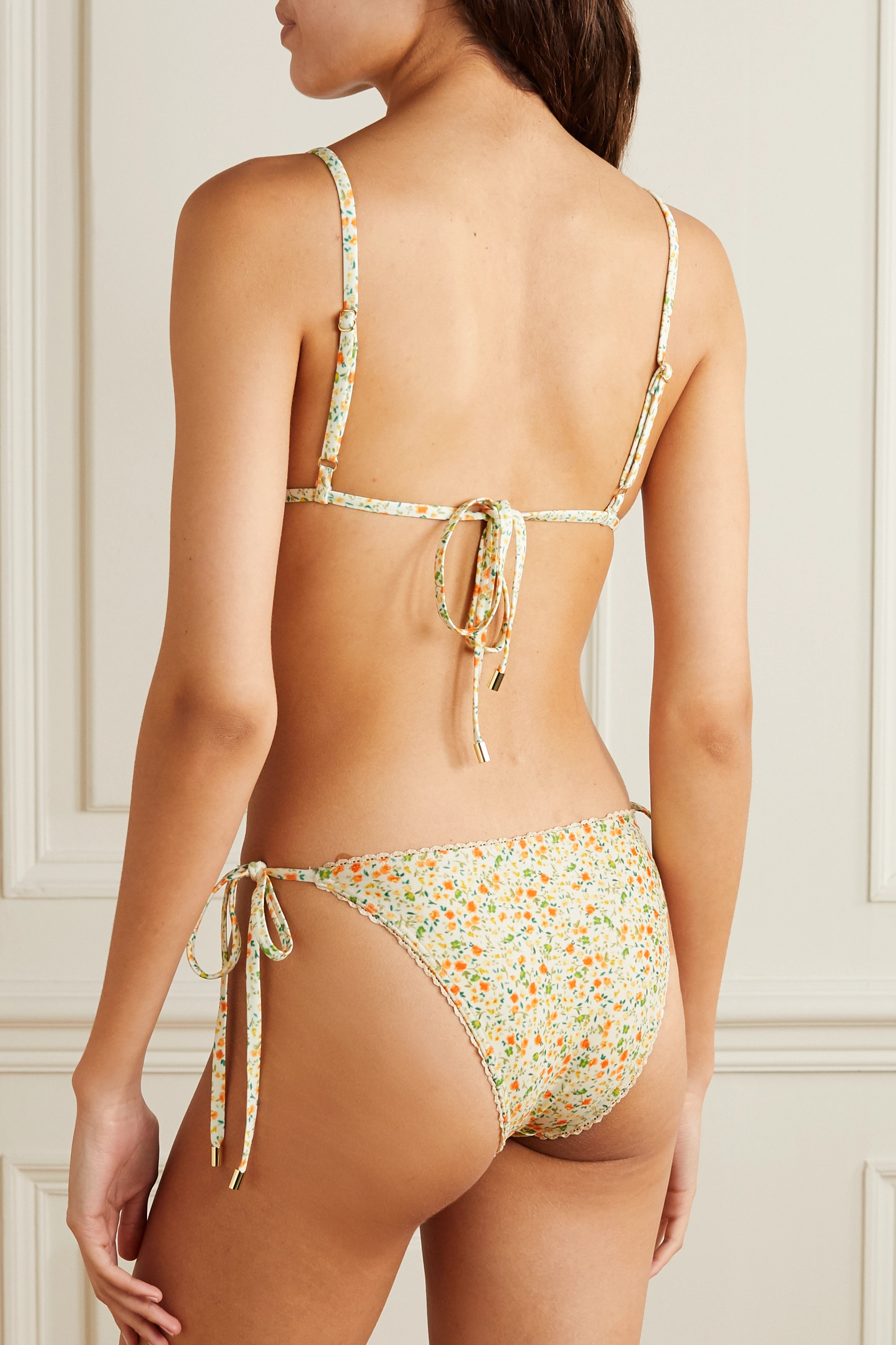 Peony + NET SUSTAIN crochet-trimmed floral-print stretch-ECONYL bikini top