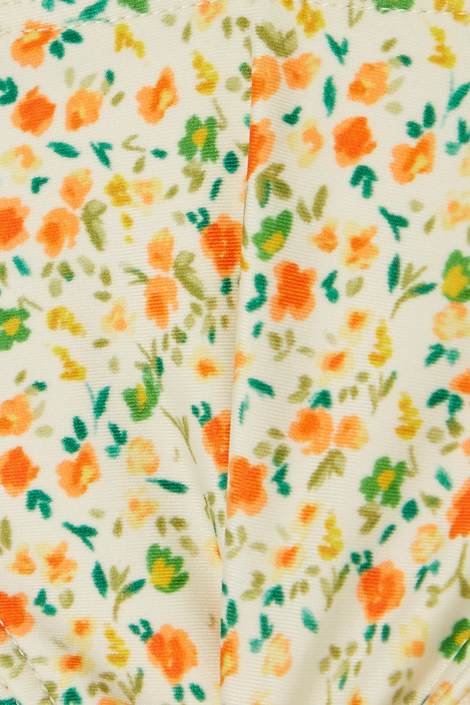 Peony + NET SUSTAIN crochet-trimmed floral-print stretch-ECONYL bikini briefs