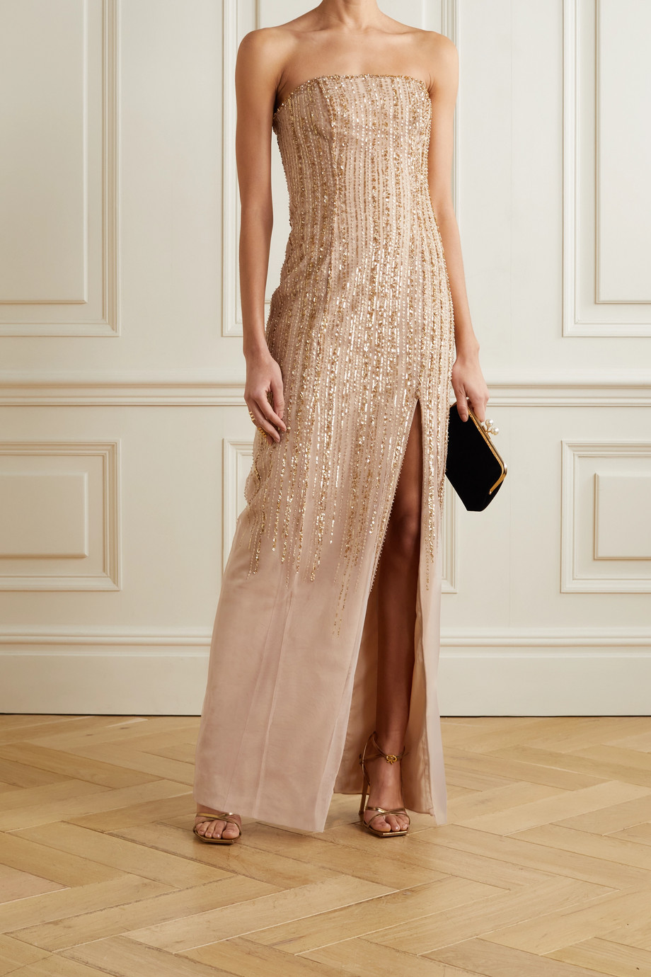 Marchesa Notte Strapless embellished tulle gown