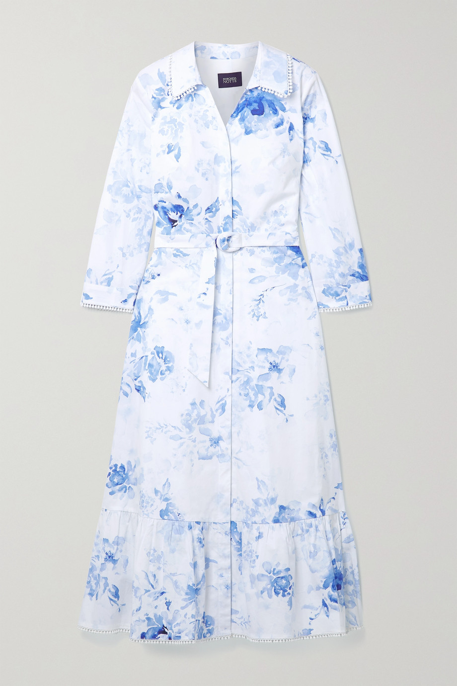 Marchesa Notte Belted floral-print cotton-blend poplin shirt dress