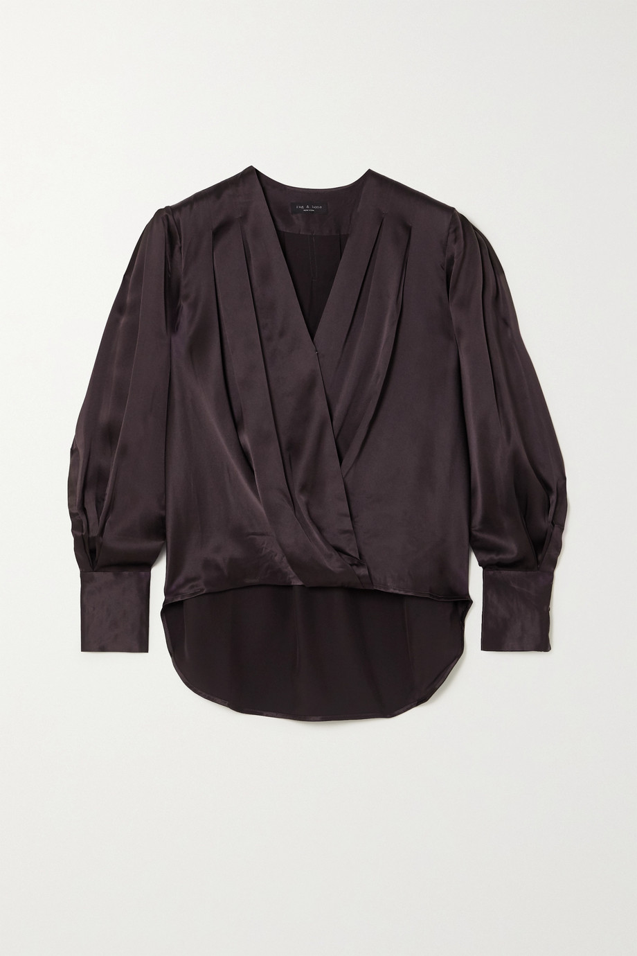rag & bone Lei wrap-effect silk-satin blouse
