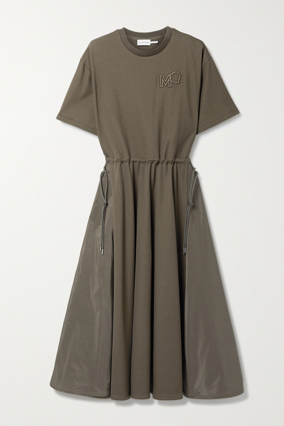 Moncler Abito embroidered cotton-piqué and shell midi dress