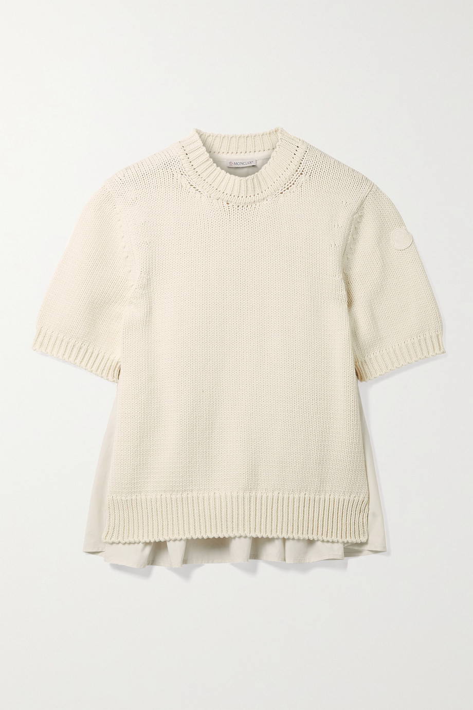 Moncler Paneled cotton and poplin sweater