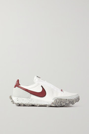 Nike Waffle Racer Crater leather and suede-trimmed shell sneakers
