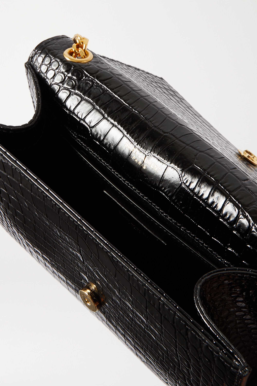 SAINT LAURENT Kate small croc-effect glossed-leather shoulder bag