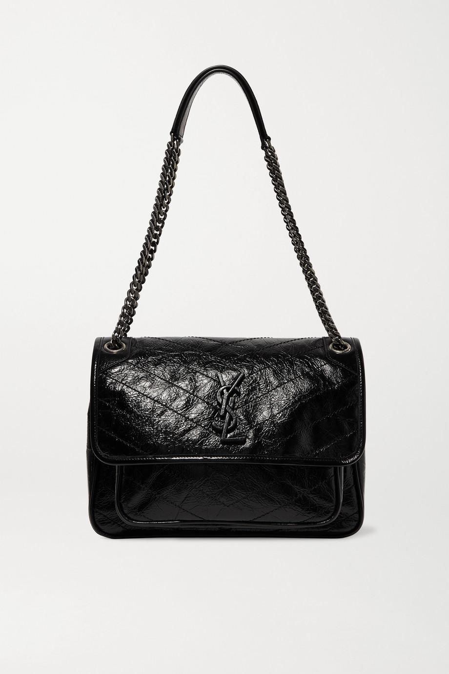 SAINT LAURENT Niki medium quilted crinkled patent-leather shoulder bag