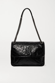 SAINT LAURENT Niki medium quilted crinkled patent-leather shoulder bag