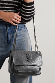 SAINT LAURENT Niki Baby mini crinkled glossed-leather shoulder bag