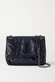 SAINT LAURENT Niki Baby mini quilted crinkled glossed-leather shoulder bag