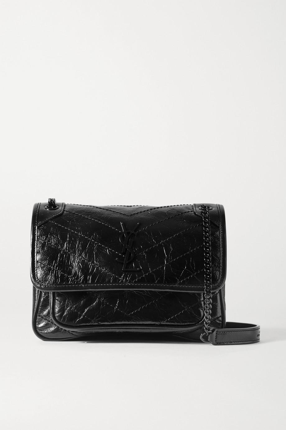 SAINT LAURENT Niki Baby mini crinkled glossed-leather shoulder bag