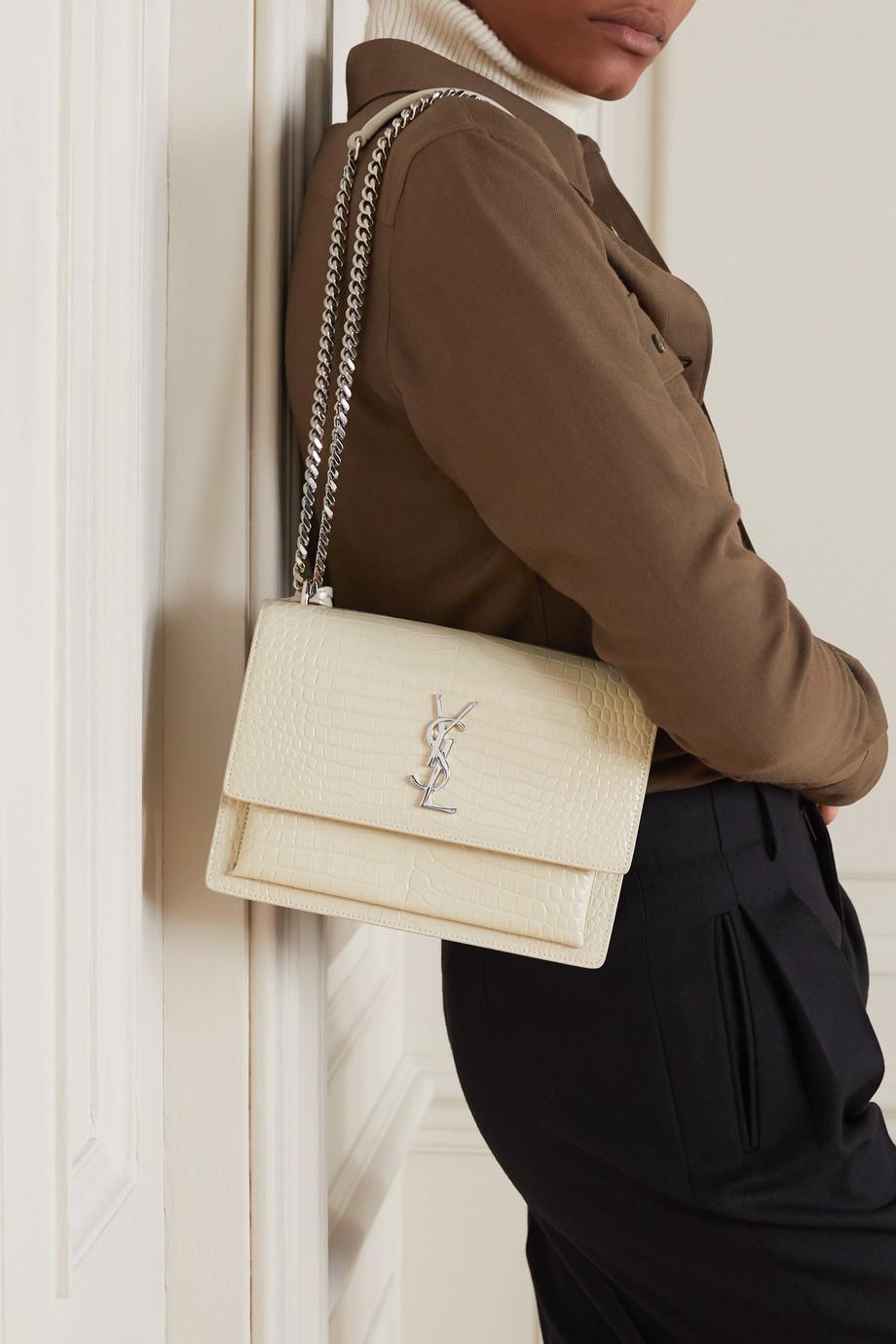 SAINT LAURENT Sunset medium croc-effect leather shoulder bag