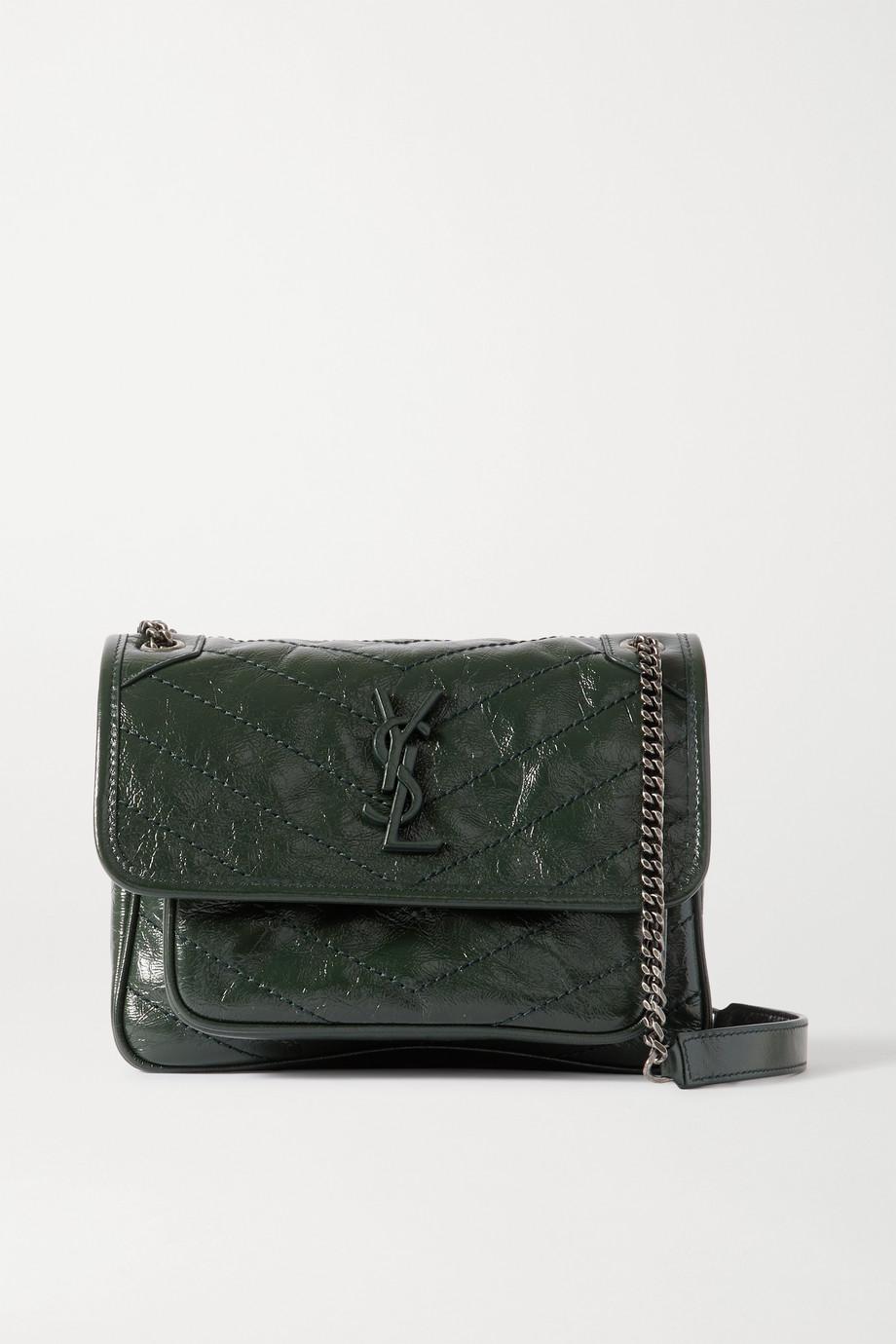 SAINT LAURENT Niki mini crinkled glossed-leather shoulder bag