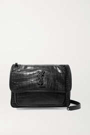 SAINT LAURENT Niki medium glossed croc-effect leather shoulder bag