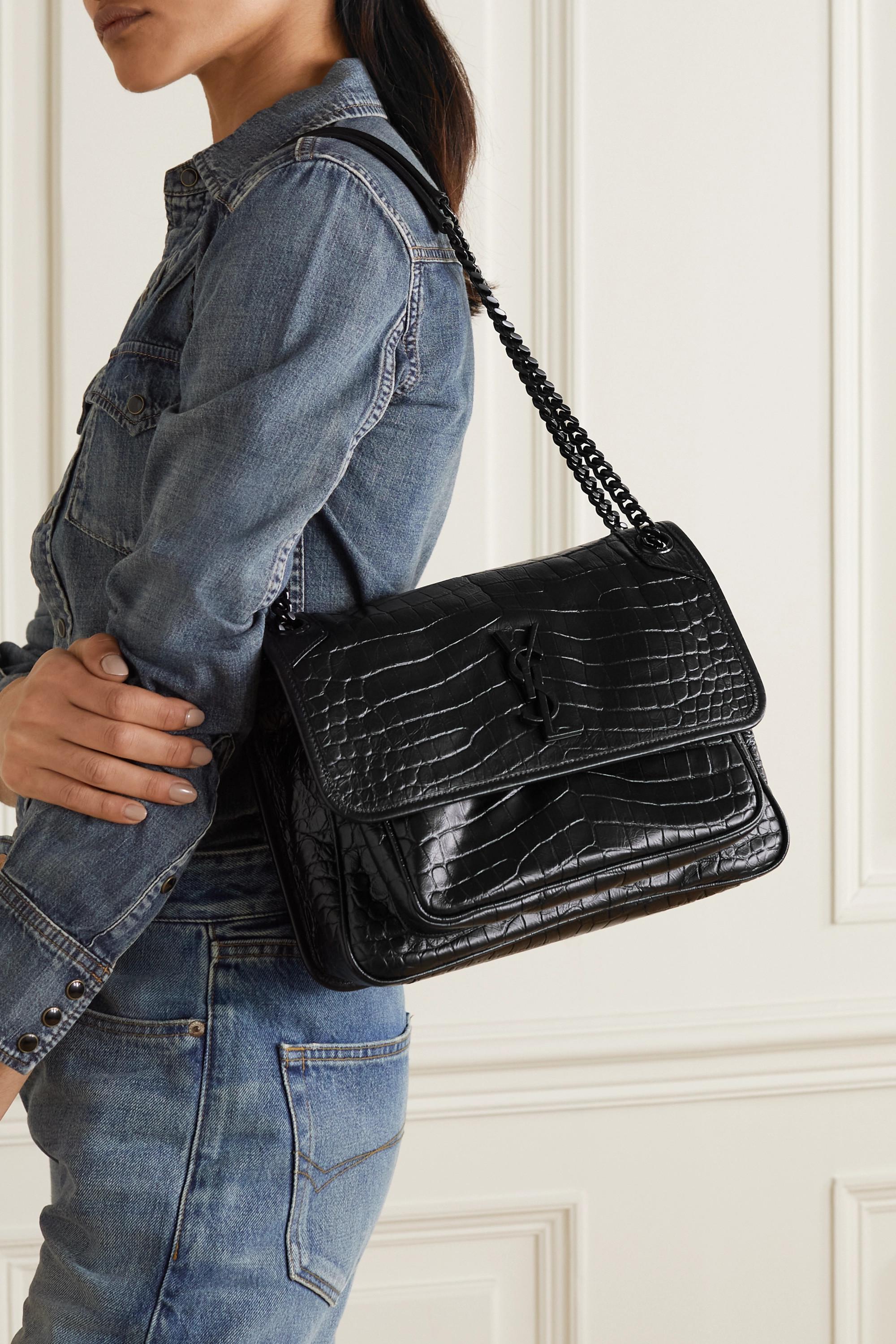 SAINT LAURENT Niki medium glossed croc-effect leather shoulder bag