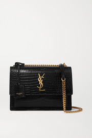 SAINT LAURENT Sunset small croc-effect patent-leather shoulder bag
