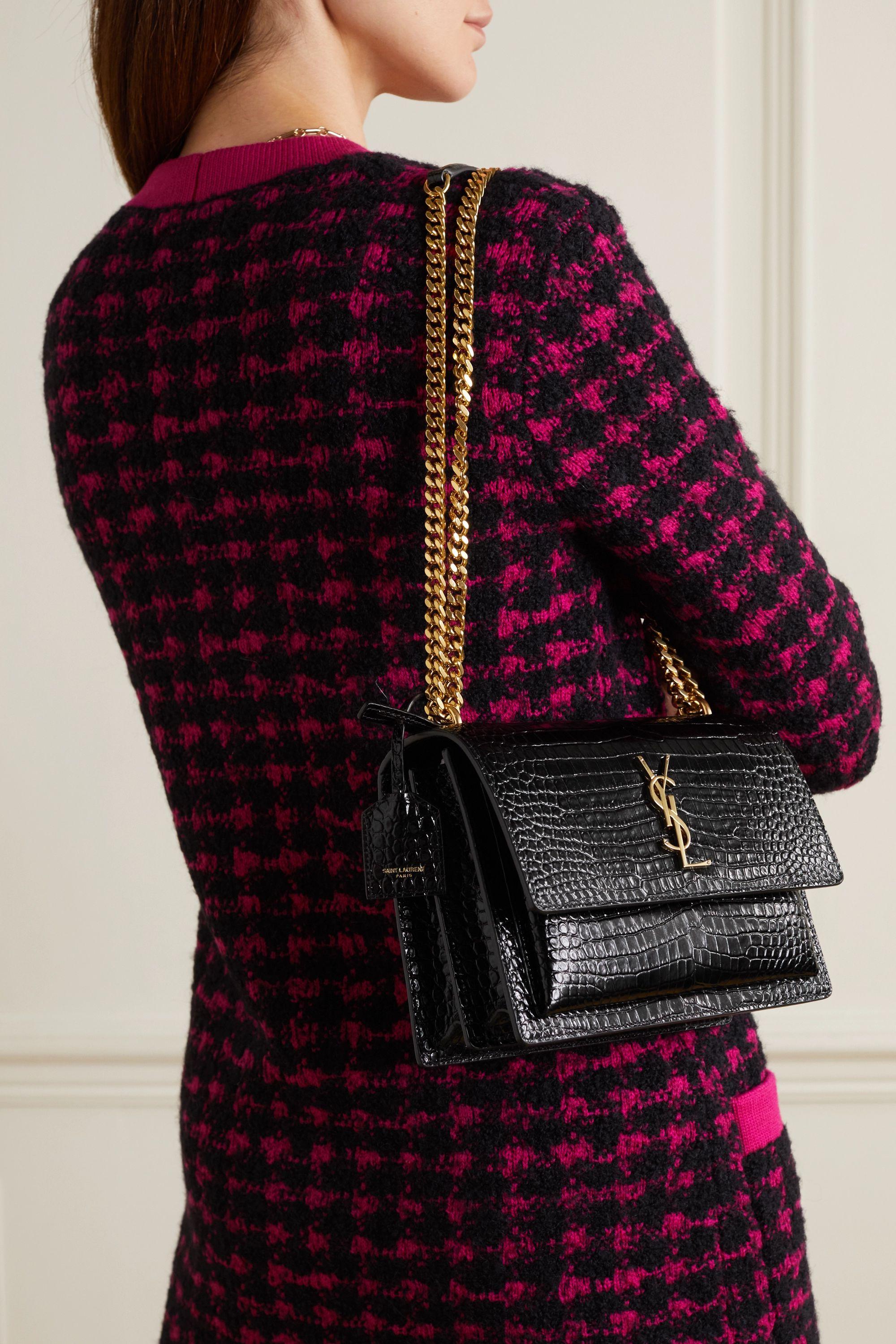 SAINT LAURENT Sunset small croc-effect patent-leather shoulder bag
