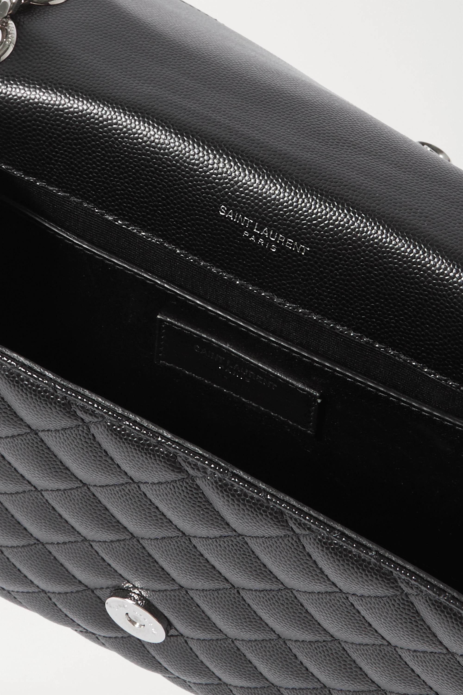 SAINT LAURENT Envelope mittelgroße Schultertasche aus gestepptem strukturiertem Leder