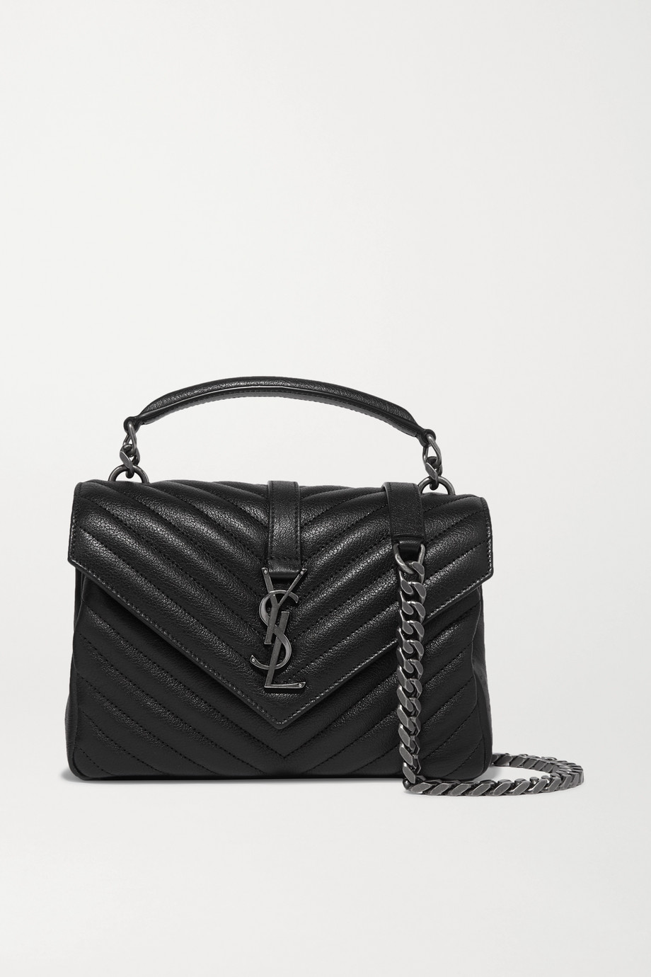 SAINT LAURENT College medium quilted textured-leather shoulder bag