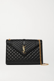 SAINT LAURENT Envelope large quilted textured-leather shoulder bag
