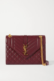 SAINT LAURENT Envelope medium quilted textured-leather shoulder bag