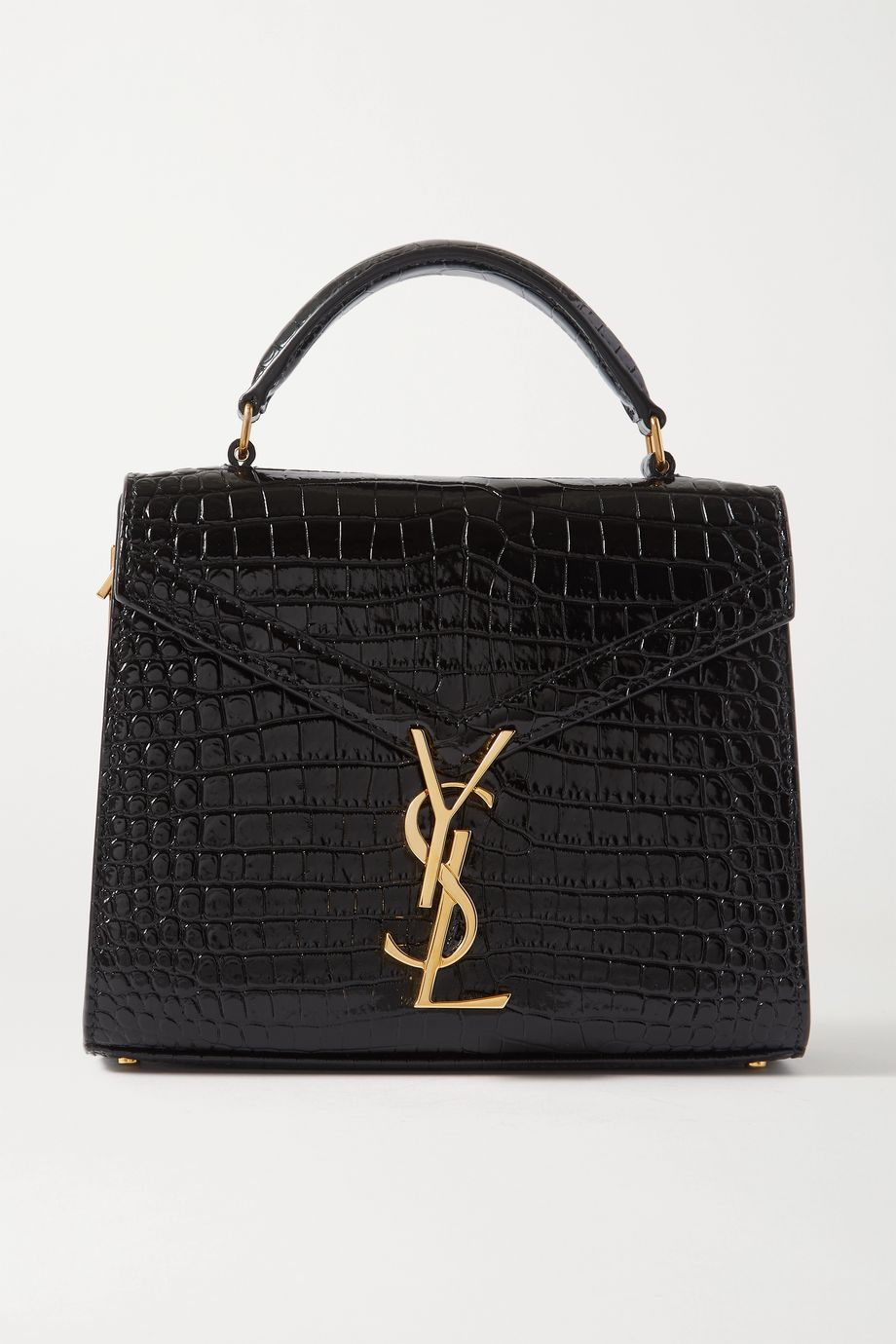 SAINT LAURENT Cassandra mini croc-effect leather tote
