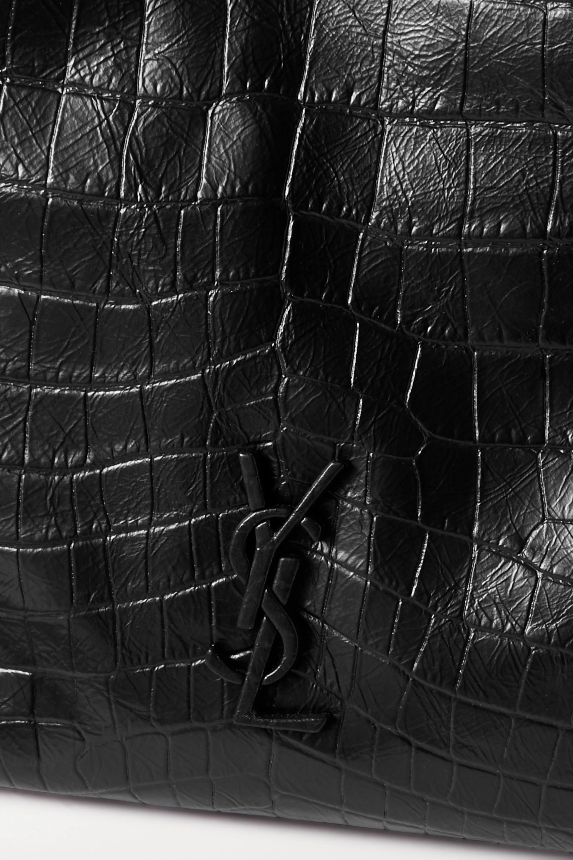 SAINT LAURENT Niki mittelgroße Schultertasche aus Glanzleder mit Krokodileffekt