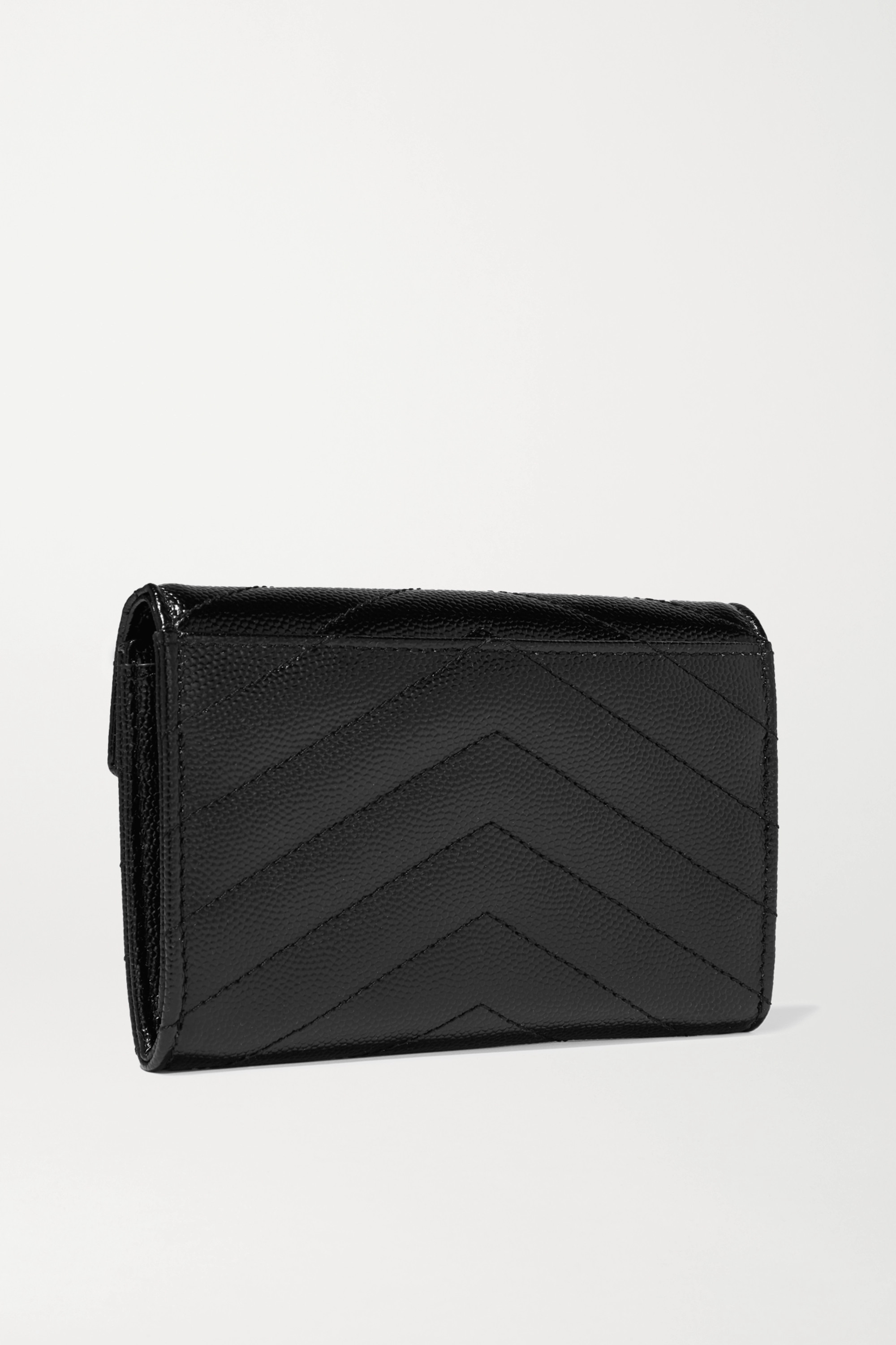 SAINT LAURENT Quilted textured-leather wallet
