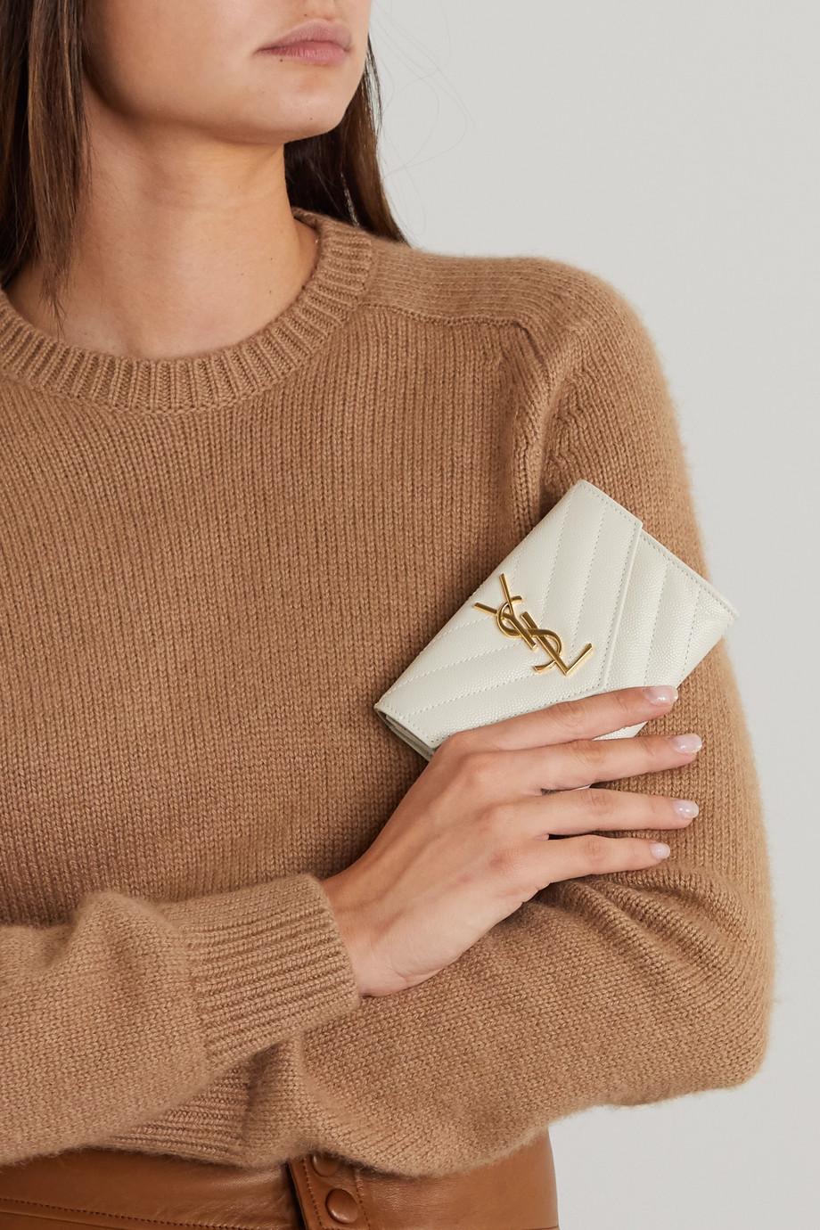 SAINT LAURENT Portefeuille en cuir texturé matelassé