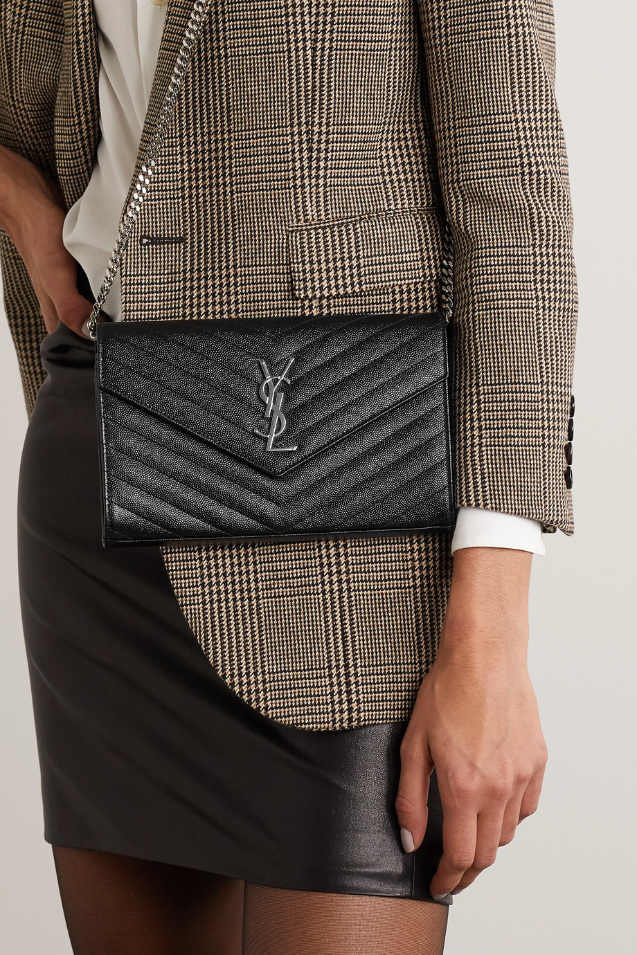 SAINT LAURENT Monogramme mini quilted textured-leather shoulder bag