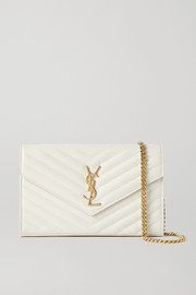 SAINT LAURENT Envelope textured-leather shoulder bag
