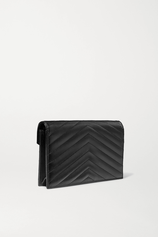 SAINT LAURENT Monogramme quilted textured-leather shoulder bag
