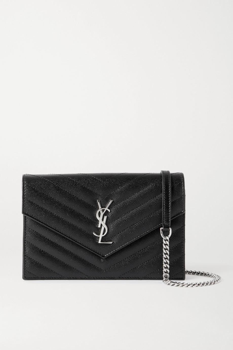 SAINT LAURENT Envelope textured-leather shoulder bag