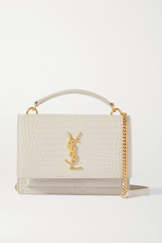 SAINT LAURENT Sunset small croc-effect leather shoulder bag