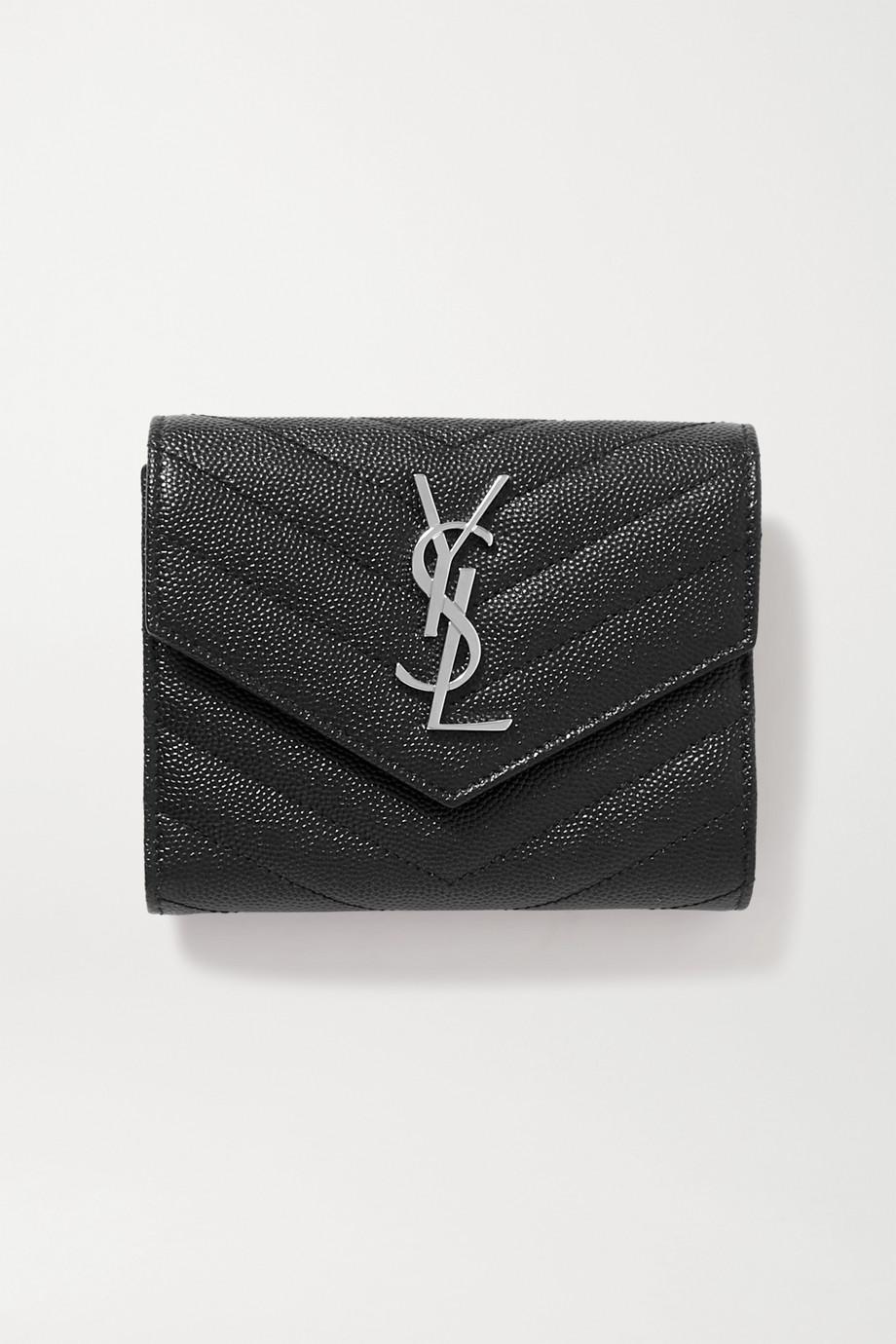 생 로랑 모노그램 퀼팅 반지갑, 은장 - 블랙Saint Laurent Monogramme quilted textured-leather wallet