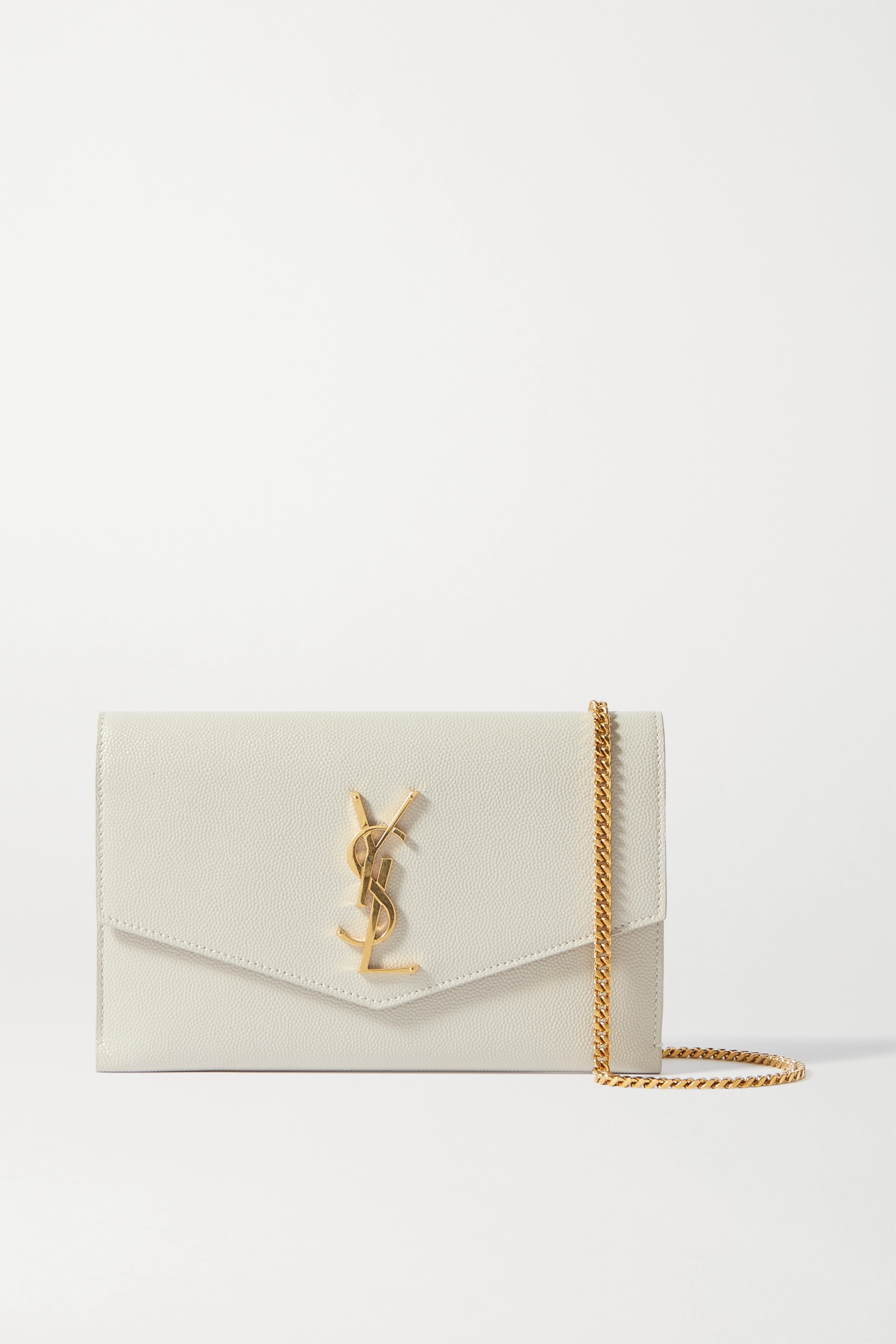 SAINT LAURENT Uptown textured-leather shoulder bag