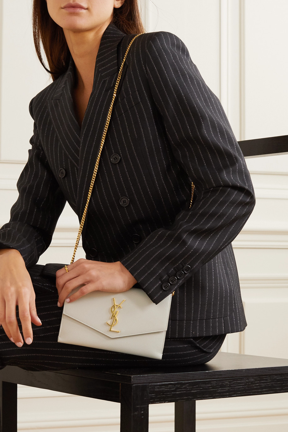 SAINT LAURENT Uptown textured-leather shoulder bag