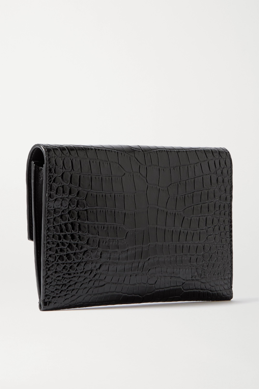 SAINT LAURENT Uptown croc-effect leather shoulder bag