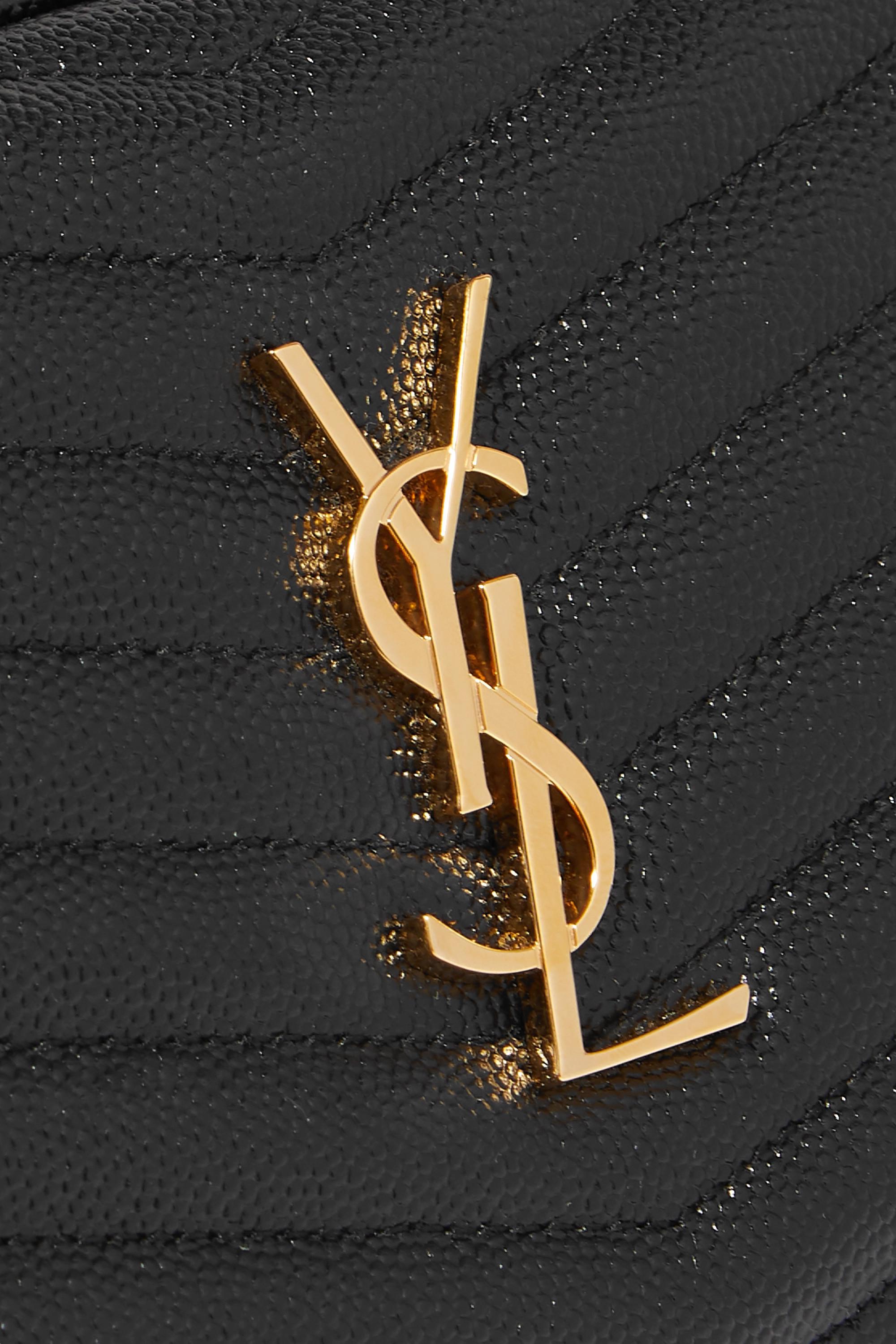 SAINT LAURENT Lou mini quilted textured-leather shoulder bag