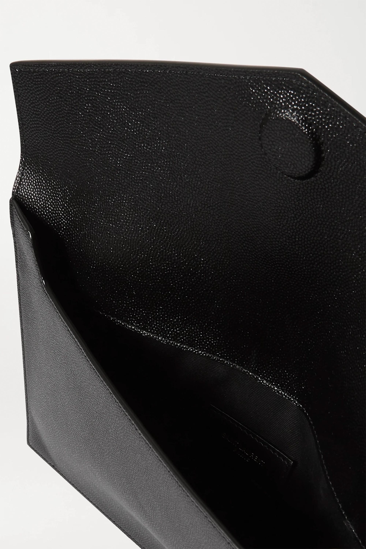 SAINT LAURENT Uptown textured-leather pouch