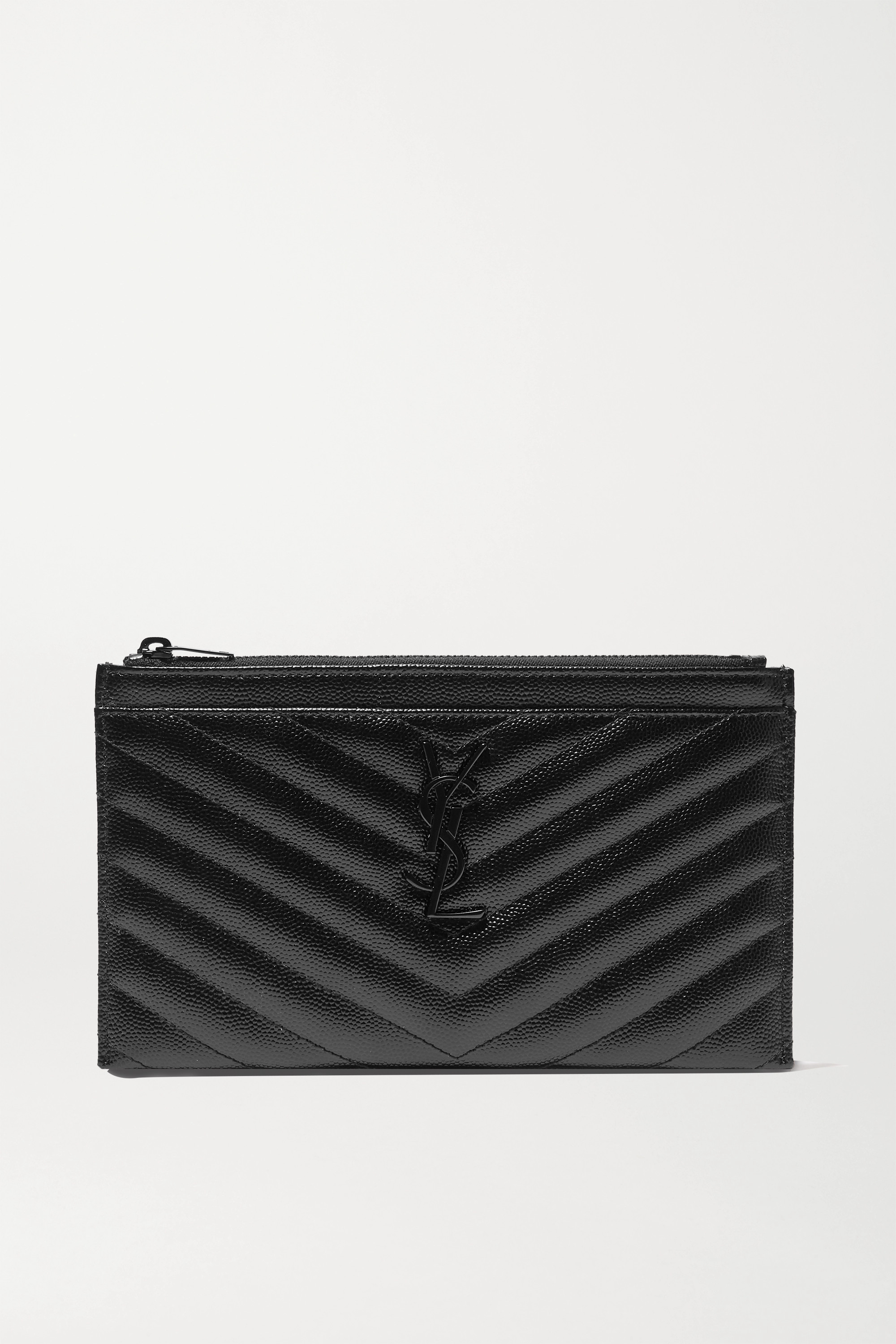 SAINT LAURENT - Monogramme quilted textured-leather pouch