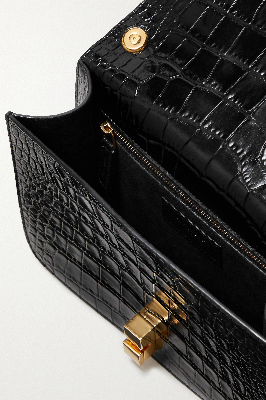 SAINT LAURENT Carre mittelgroße Schultertasche aus Leder mit Krokodileffekt