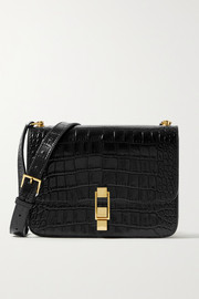 SAINT LAURENT Carre medium croc-effect leather shoulder bag